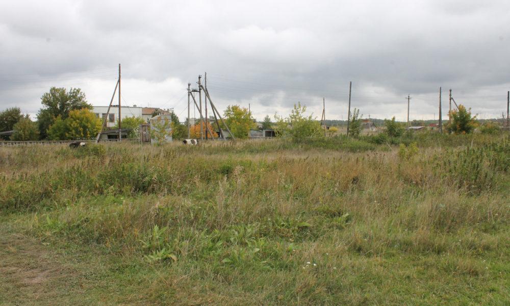 На месте этого пустыря, рядом со школой, глава Булзинского поселения планирует построить хоккейный корт и разбить спортивную площадку под футбольное поле