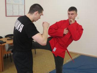 Сотрудники отдела МВД Дмитрий Зюзев и Никита Казаков демонстрируют школьникам приемы самообороны