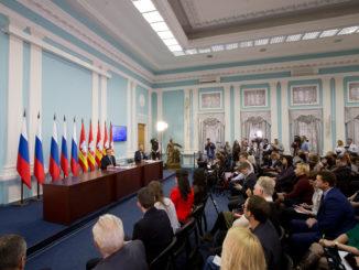 Пресс-конференция врио губернатора Челябинской области Алексея Текслера