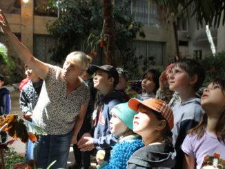 Татьяна Павловна Никандрова рассказывает ребятам об удивительных растениях