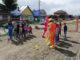 На открытии детской площадки